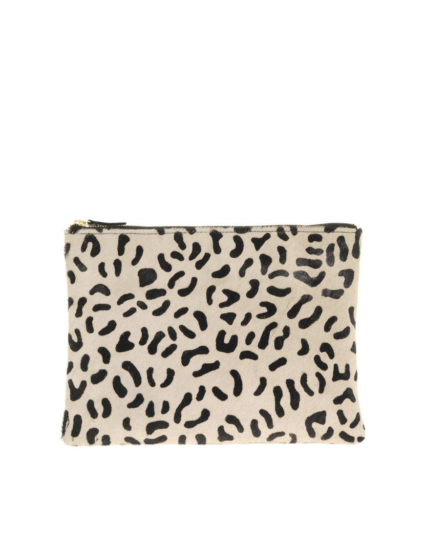Leather Clutch Bag With Faux Animal Print