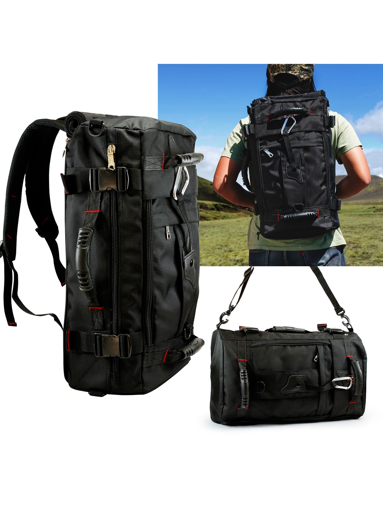 New Mens Black Multi-Function Backpack Large Capacity Camping Travel Backpack