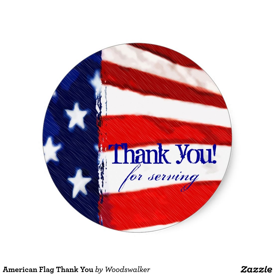 American Flag Thank You Classic Round Sticker Zazzle Com Thank You Stickers American Flag Flag
