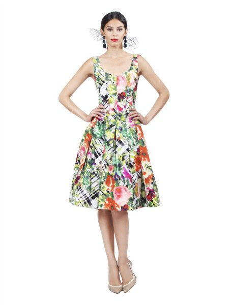 Oscar De La Renta Multicolor Sleeveless Dress with Full Skirt