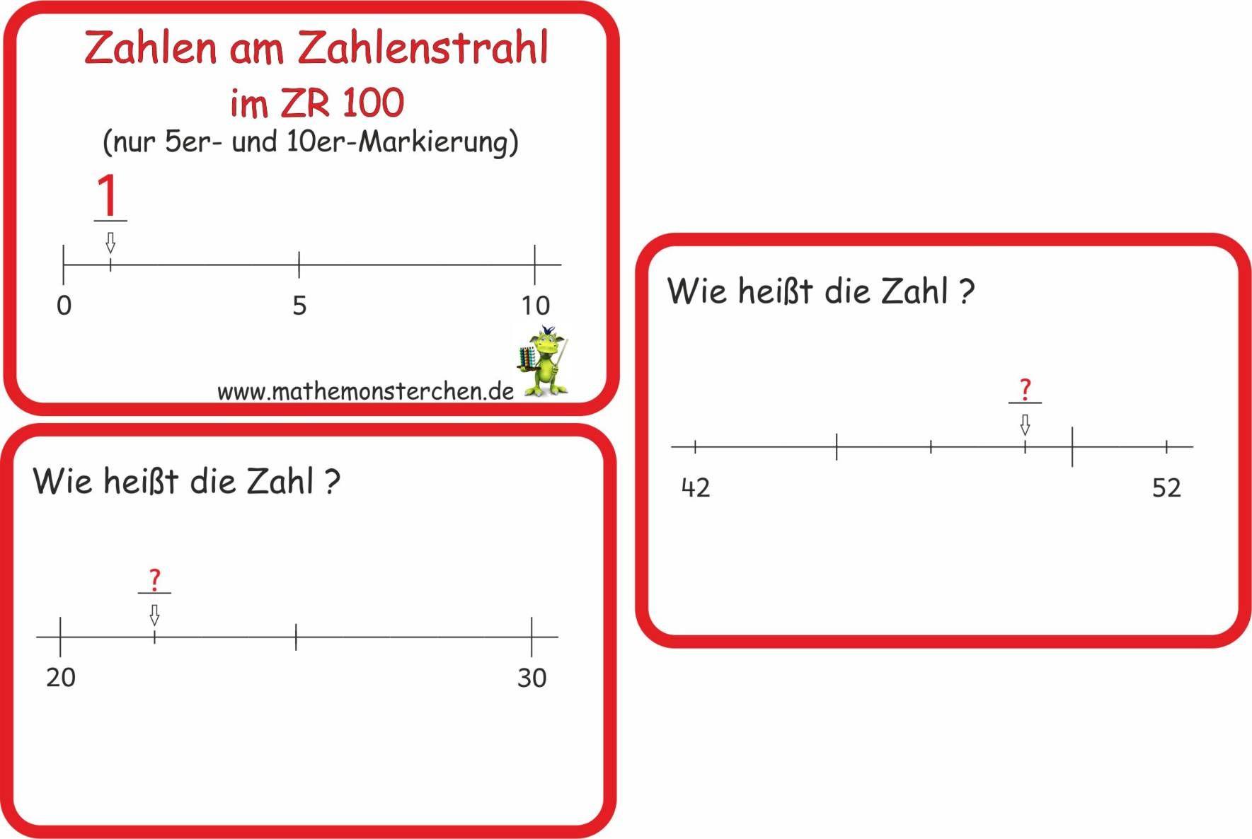 Mathemonsterchen Kombinatorik Zahlenstrahl Gleichungen