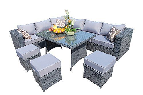 Yakoe Papaver 9 Seater Grey Rattan Corner Sofa Dining Set With Cover Option Rattan Garden Furniture Garden Furniture Outdoor Sofa Sets