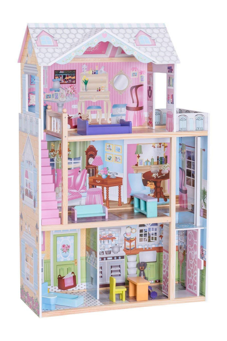 Doll House Costzon Dollhouse With Furniture Colorfull Doll House Affliate Link Wooden Dollhouse Doll House Furniture