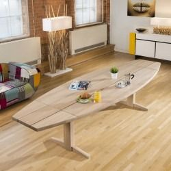 d08ea68589f1 Large Danish Curved Dining Table White Oiled Oak top and leg 2.7 x 1 ...