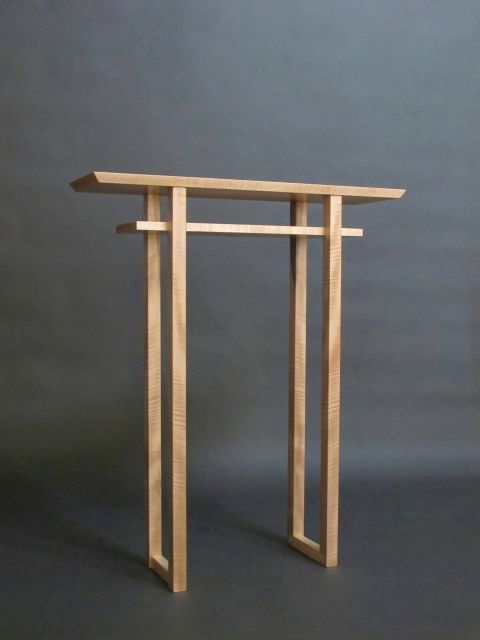 Modern Narrow Altar Table  For Chapel And Peaceful Places, Maple Table With  Shelf