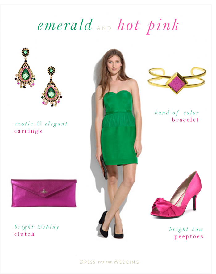 Emerald Green Dress For A Wedding Guest With Hot Pink Emerald