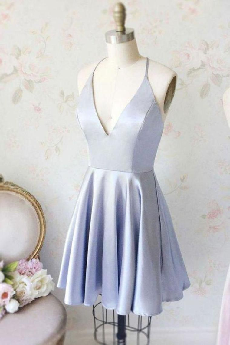 Simple Short Homecoming Dresses, Cheap V Neck Ruched Graduation Dress