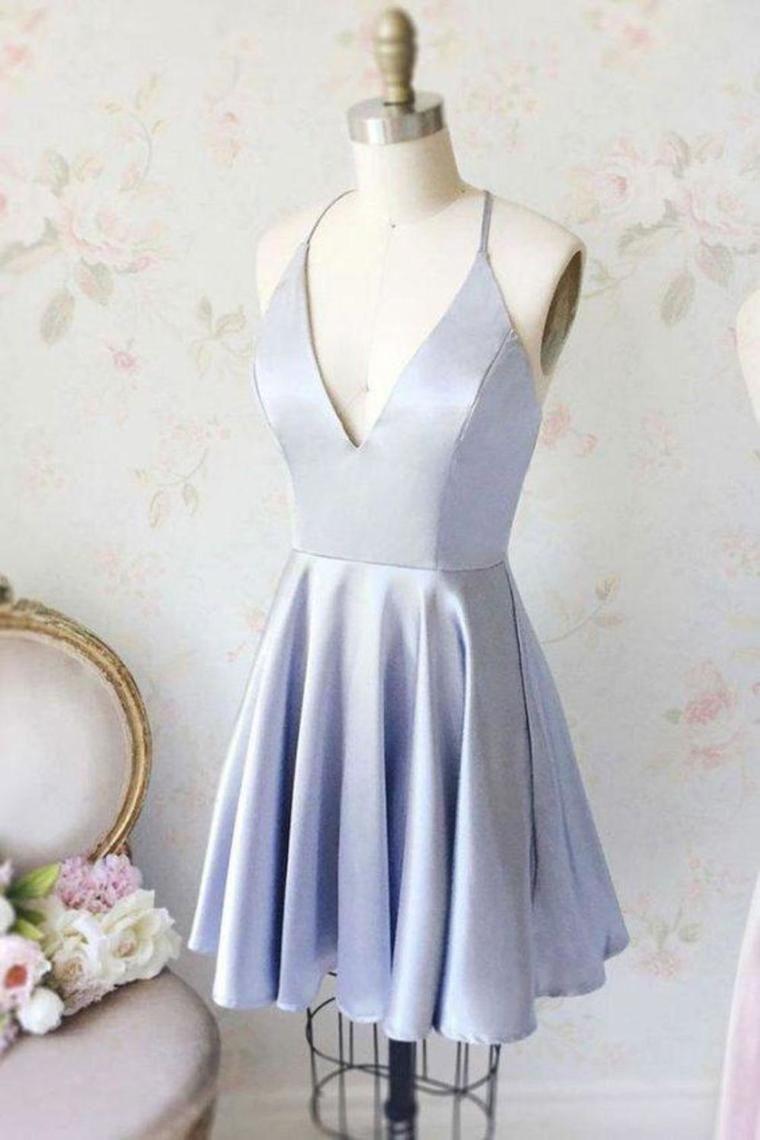 Simple Short Homecoming Dresses, Cheap V Neck Ruched Graduation Dress VEPSCY2RG4