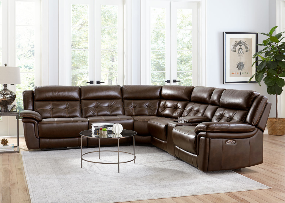 Hallmark 6 Piece Leather Power Reclining By Hom Furniture Hom Furniture Furniture Modular Sectional