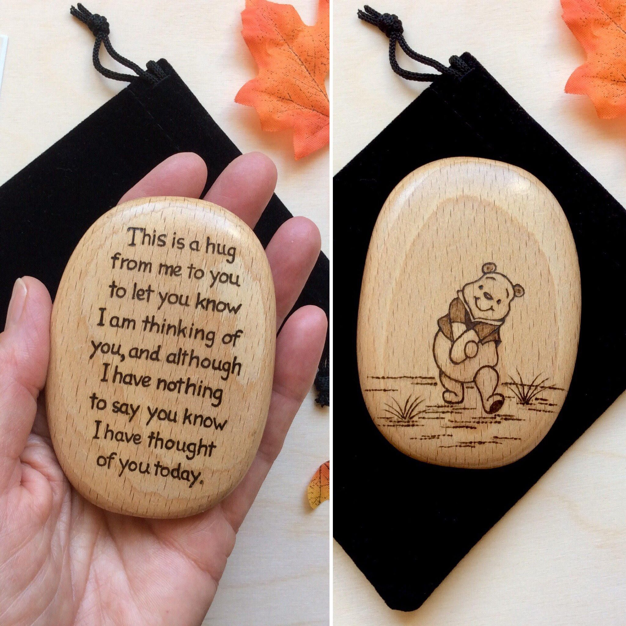 Send A Hug Winnie The Pooh Quote Wooden Pebble
