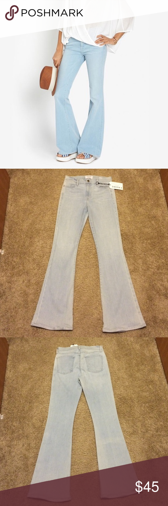 "New Frame denim Jeans Le High Flare Hyde 30 petite Frame denim jeans in Hyde.  The wash is a very pale blue.  Size 30, altered to a 30.5"" inseam, original hems reattached.  Le High Flare, new with tag. Frame Jeans Flare & Wide Leg"