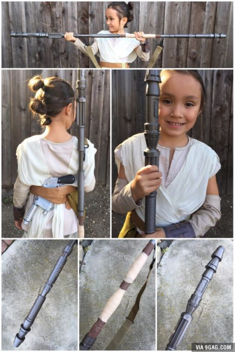 After six hours of 3D printing, assembling and touch up, little Rey now has her own quarterstaff.