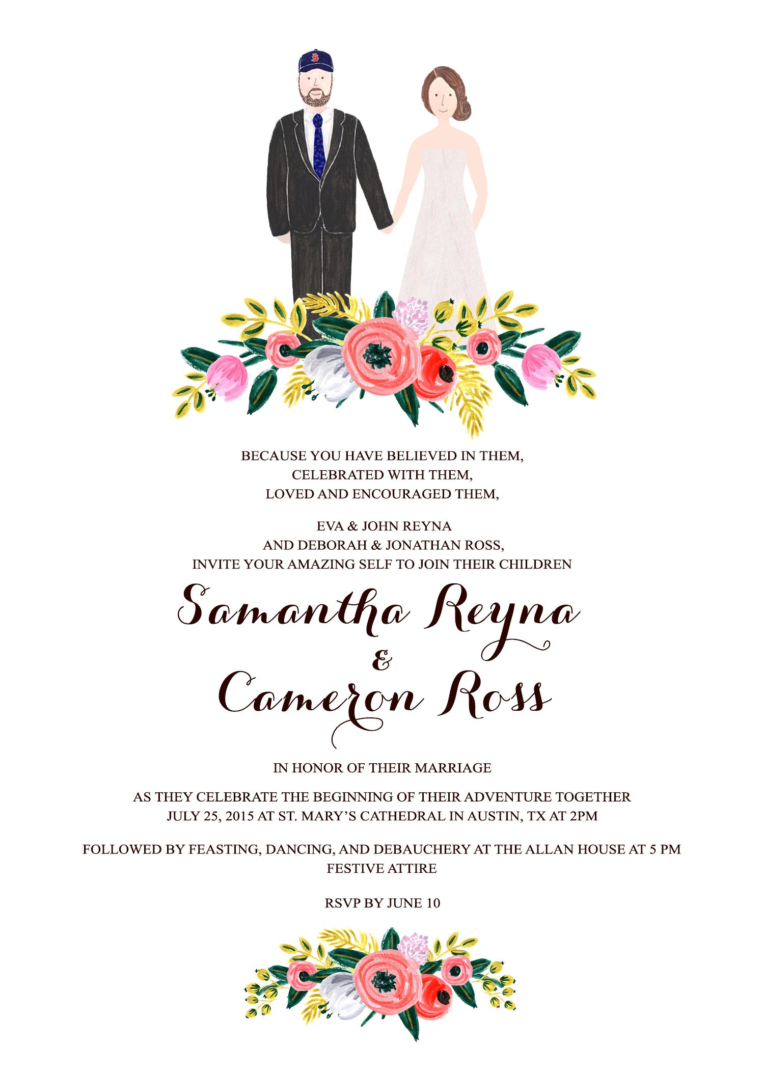 Made to order couple wedding illustration, hand painted wedding ...