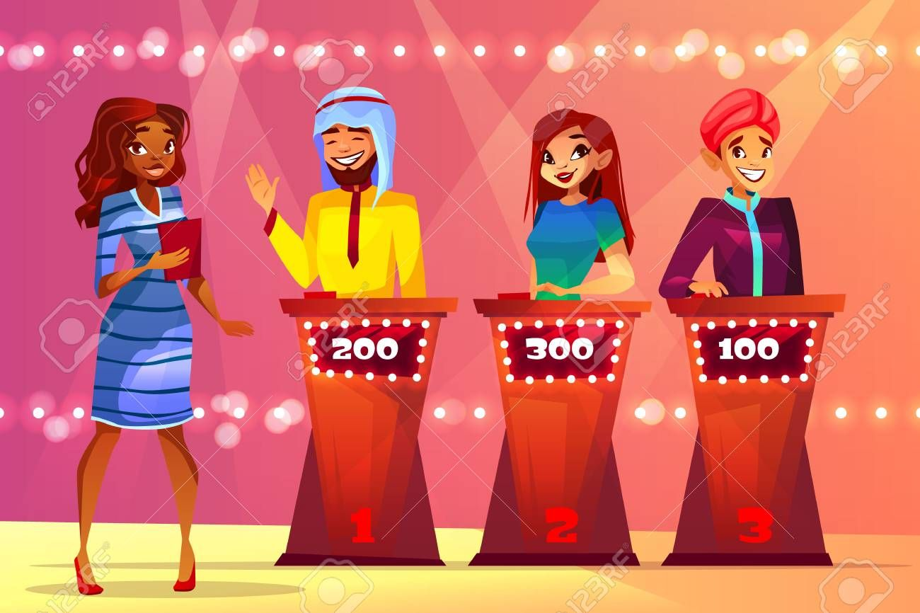 Quiz trivia vector illustration of people in game show studio. Black Afro American woman presenter