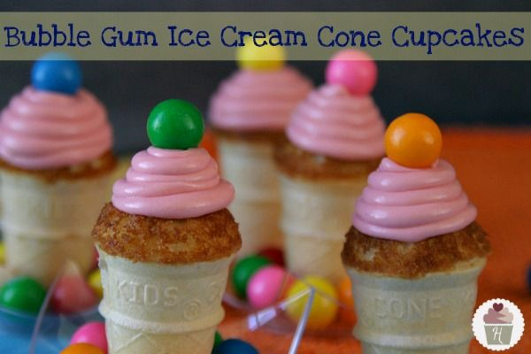 Bubble Gum Ice Cream Cone Cupcakes Learn How To Bake Cupcakes