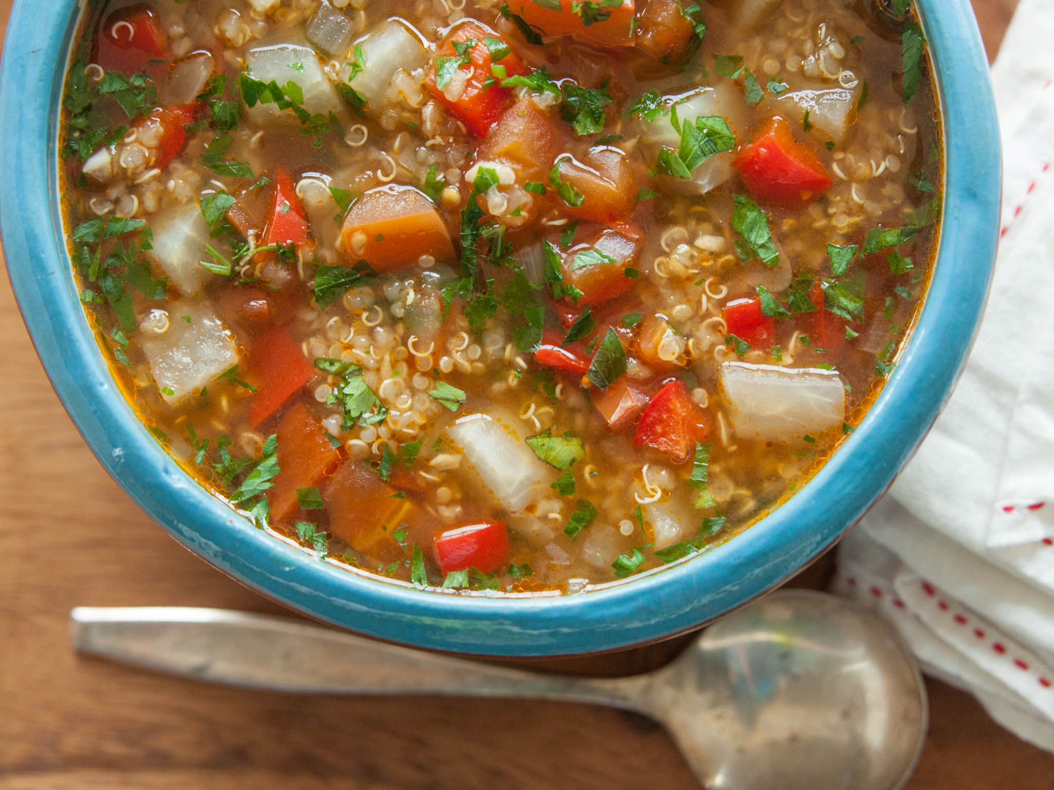 Quinoa Vegetable Soup Recipe In 2020 Food Recipes Whole Food