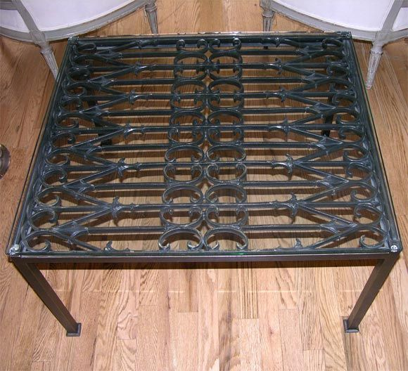Black Iron Gate Coffee Table With Glass Top Image 4 With Images