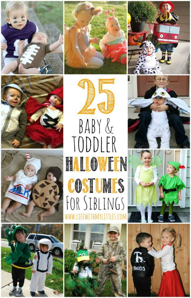 25 baby and toddler Halloween costumes for siblings. What a cute roundup of ideas! Great for brothers and sisters!  sc 1 st  Pinterest & 25 Baby and Toddler Halloween Costumes for Siblings | Toddler ...