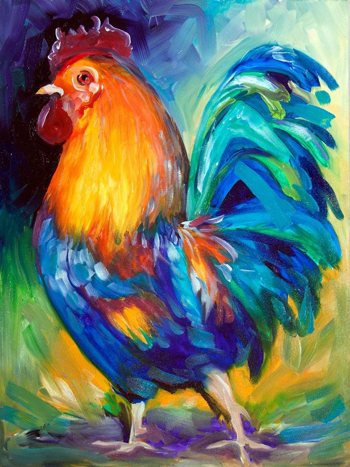 Marcia Baldwin   Rooster painting, Colorful oil painting ...