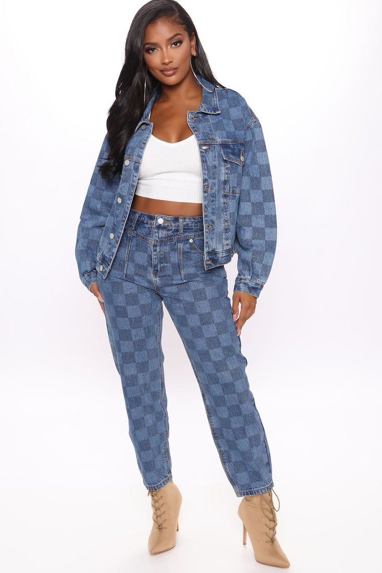 Game Maker Checkered Denim Jacket Blue Combo Mom Jeans Womens Black Dress Printed Denim Jacket [ 1140 x 760 Pixel ]