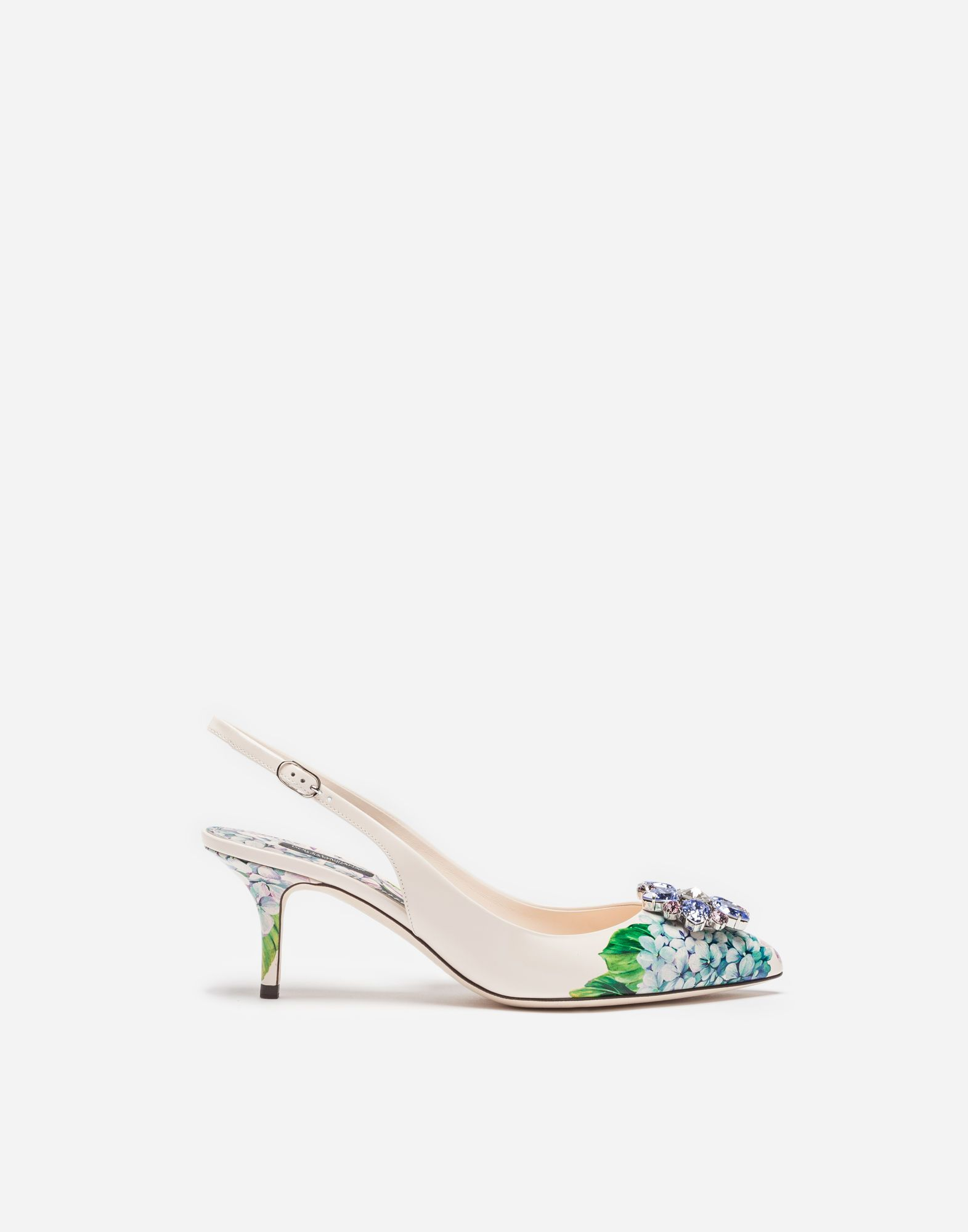 Find the printed leather slingback pumps with bejeweled appliqué for women  in multicolor. Choose from our wide selection on Dolce&Gabbana.