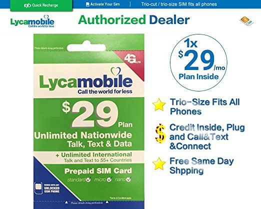 Lycamobile Sim Card 29 Plan 1 Month Inside Phone Plans How To Plan Text