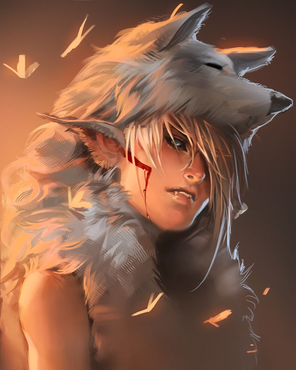 Man with White Wolf by sakimichan  Concept art characters