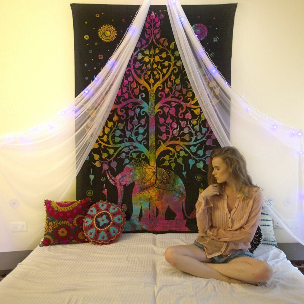 NANDNANDINI  Christmas Decorative Elephant Tapestry SUPERIOR QUALITY    Organic Cotton Wall Hanging Made With Vegan