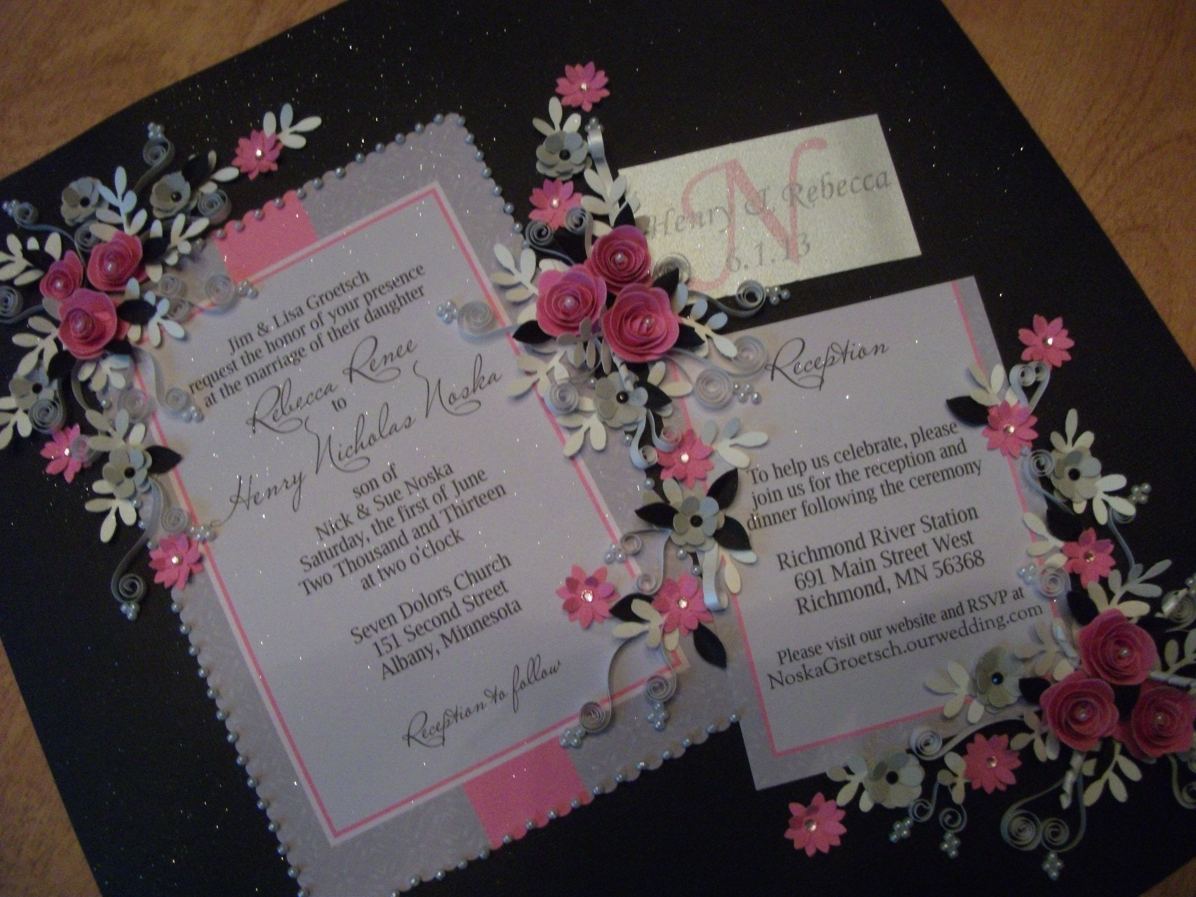 All Of The Elements From This Wedding Invitation Were Included In Pink And Silver Paper Quilled Framed Keepsake