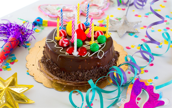 Download Wallpapers Happy Birthday Chocolate Cake 4k Candles Sweets Congratulations Birthday Cake Besthqwallpapers Com Happy Birthday Cakes Holiday Desserts Happy Birthday Cake Images