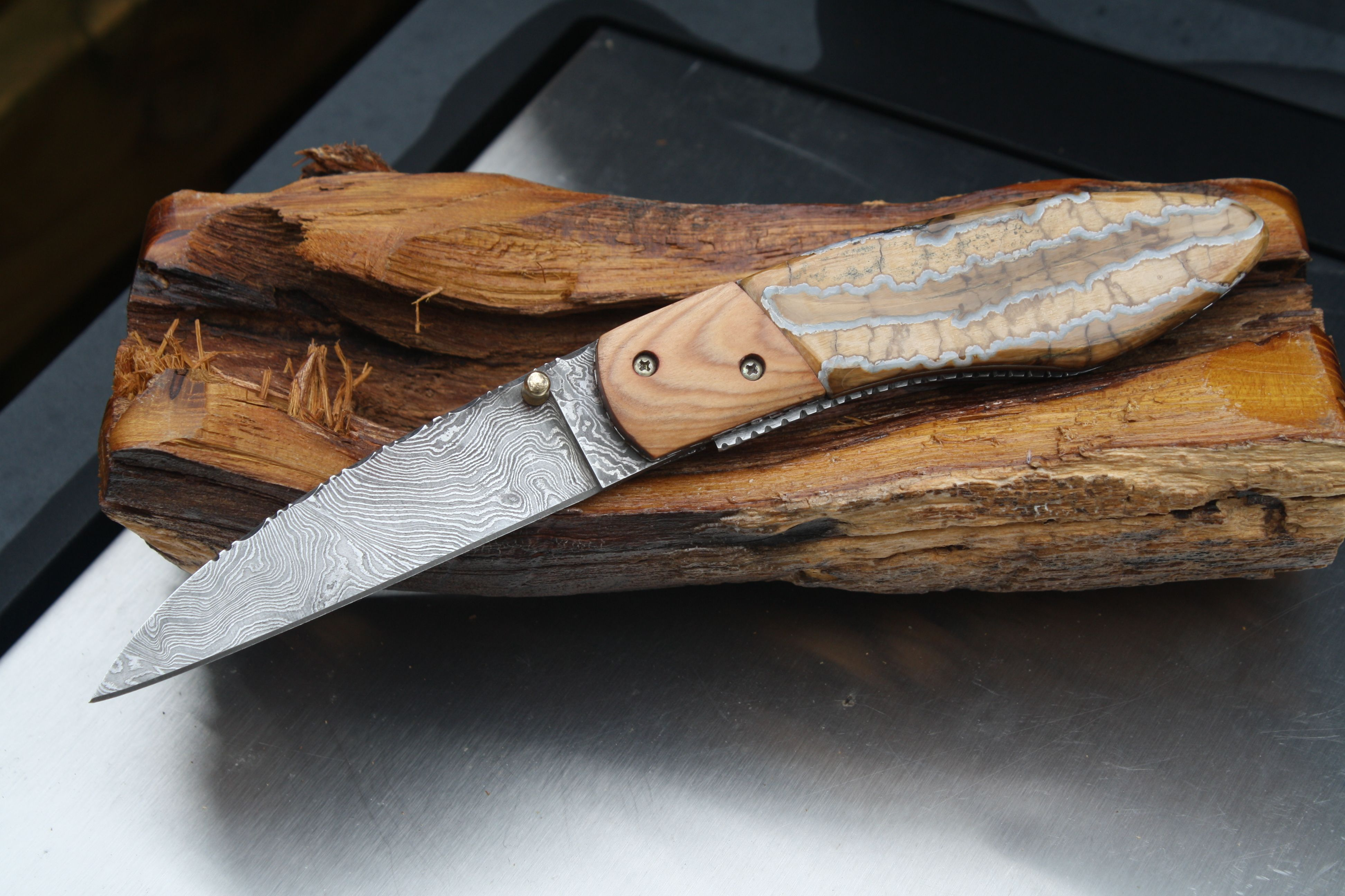 Damascus and fossil mammoth tooth | My Knives | Folding