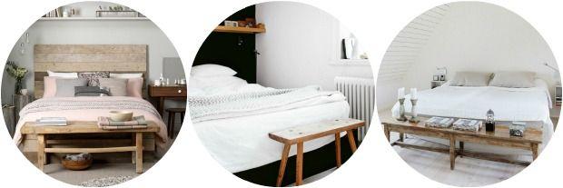 Een bankje achter het bed Als je een wat ruimere slaapkamer hebt is ...