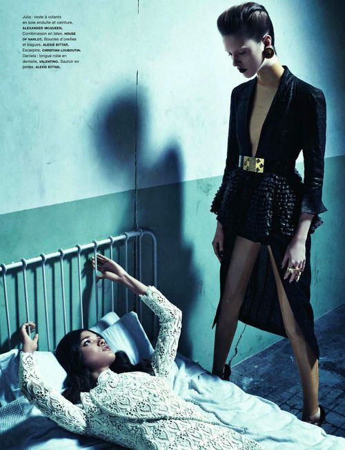 Blood Sisters    Model: Daniela Braga & Julia Frauche  Photographer: Sebastian Kim  Stylist: Charles Varenne  Magazine: Numéro, February 2013    Image Courtesy of Numéro fashion