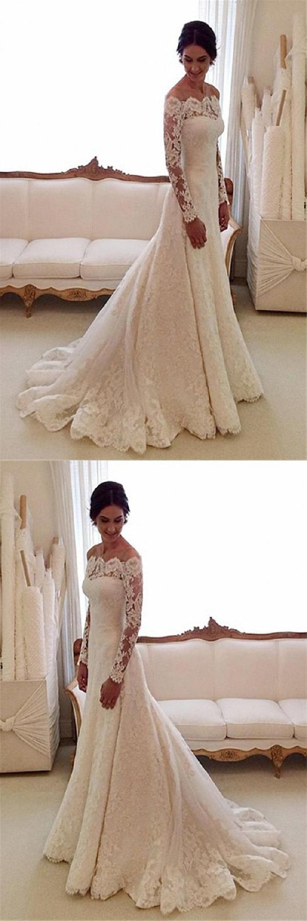 Long sleeves wedding dress white wedding dress wedding dress