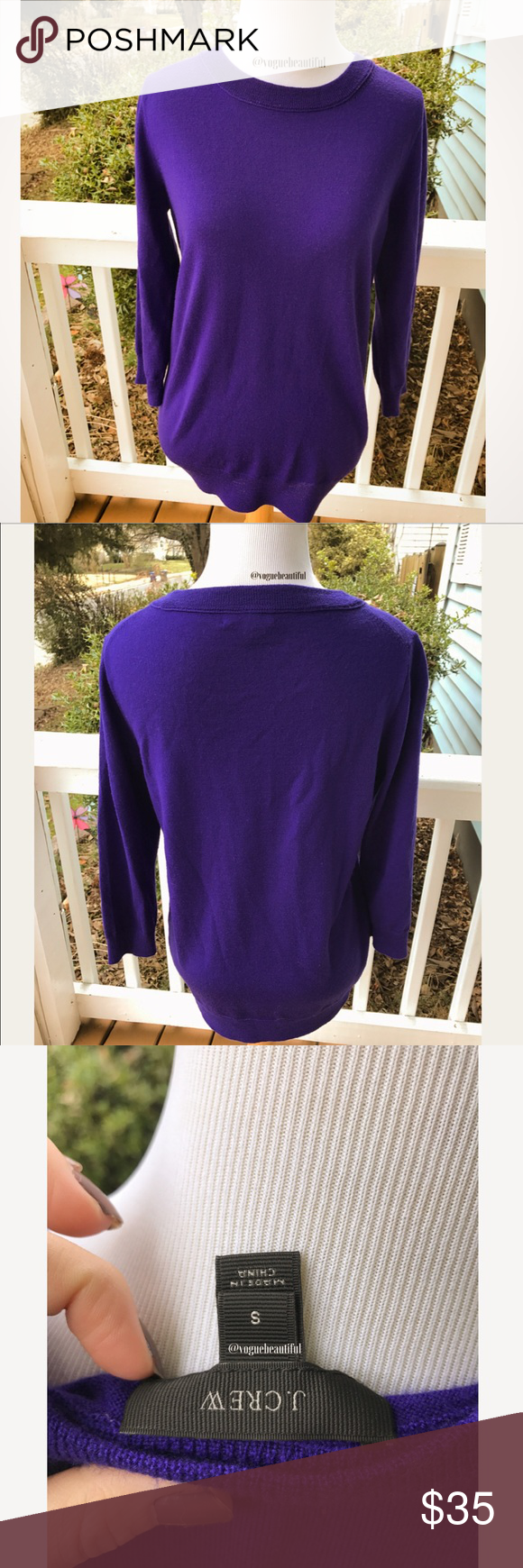 J.Crew Merino Wool Tippi Sweater in Deep Purple | Deep purple ...