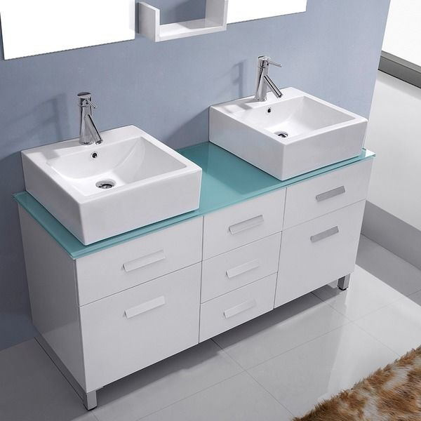 Virtu Maybell 56 Inch Double Sink Bathroom Vanity Set