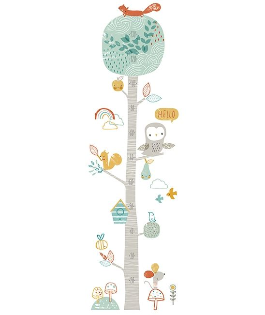 Toise b b arbre et hibou d coration chambre d 39 enfant - Stickers arbre chambre bebe ...