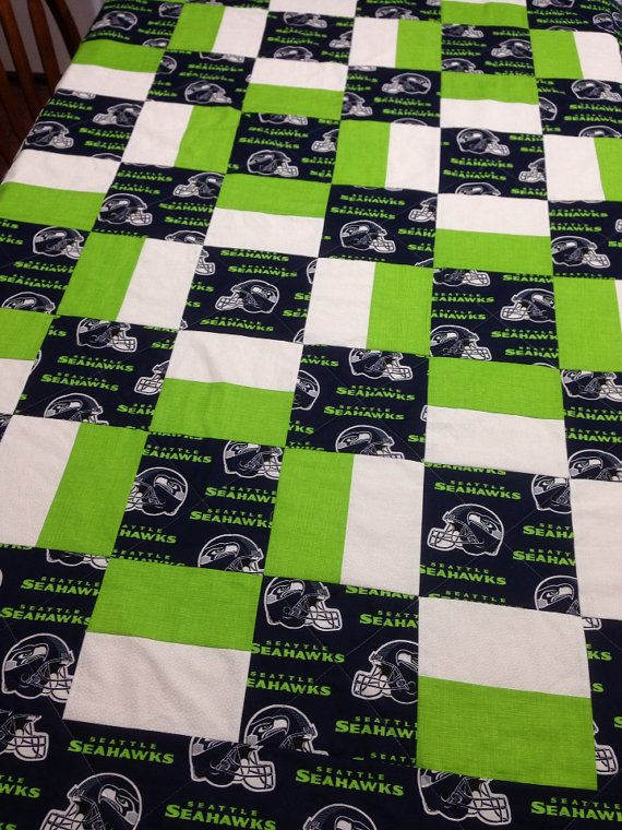 Handmade Seattle Seahawks Quilt,62 x 50.Perfect for the number fan ... : sports themed quilts - Adamdwight.com