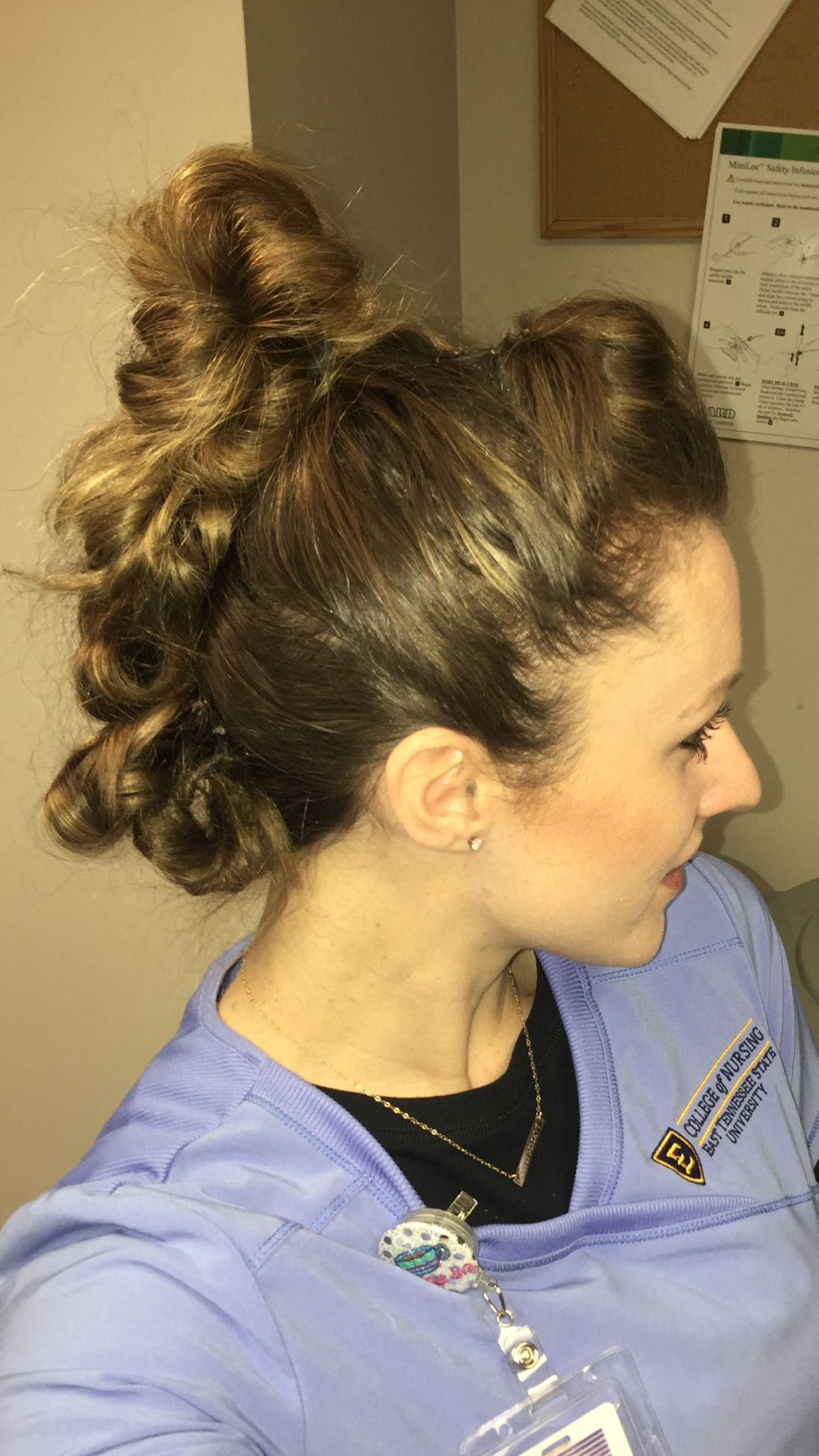 Easy and cute updo hairstyle idea for nurses stuffed bun mohawk