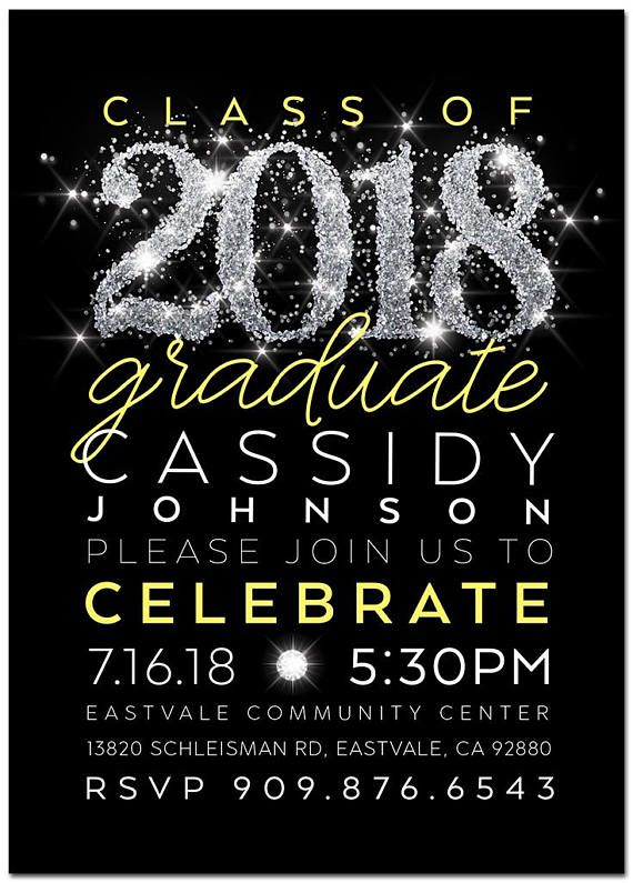 modern yellow black silver graduation party invitation make it