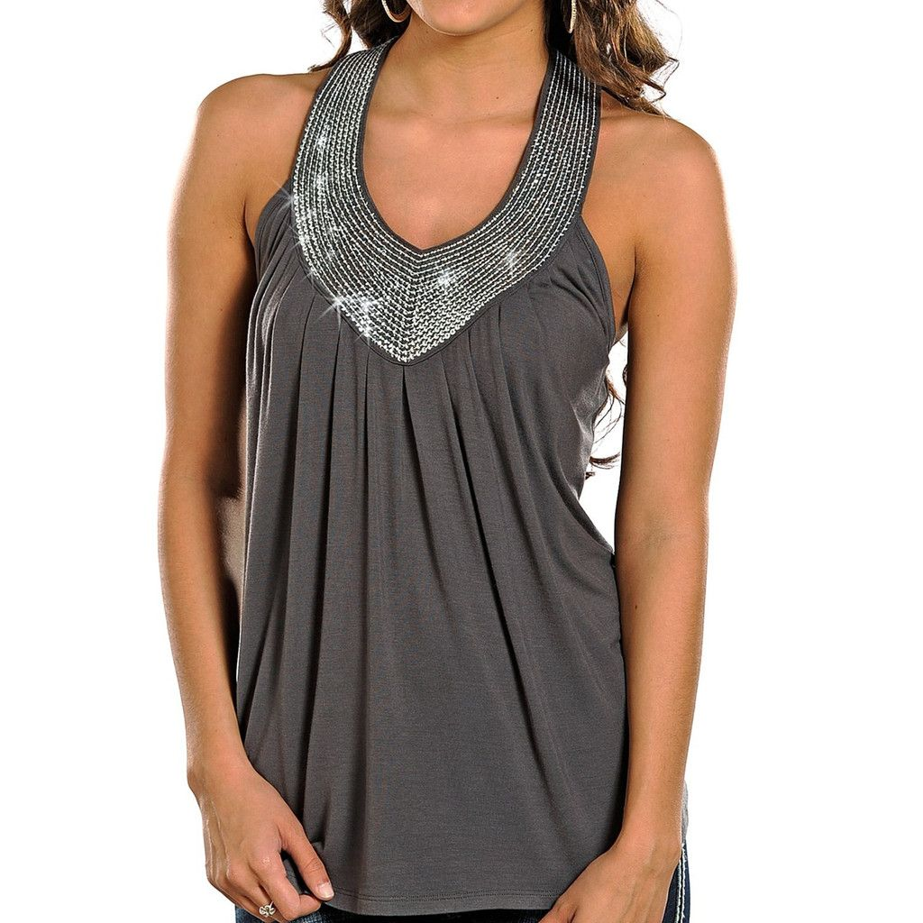 Rock & Roll Cowgirl Juniors' And Sequin Tank Steel X-Large