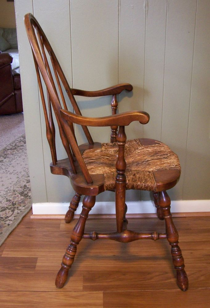 C1800s WINDSOR ARM CHAIR Robert Mitchell Braced Bow Back Rush Seat  Americana #RobertMitchell