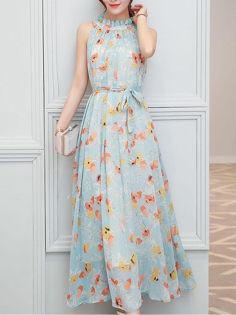 Fashionmia Fashionmia Band Collar Floral Chiffon Maxi Dress Adorewe Com Chiffon Dress Long Casual Gowns Chiffon Maxi Dress [ 1200 x 900 Pixel ]