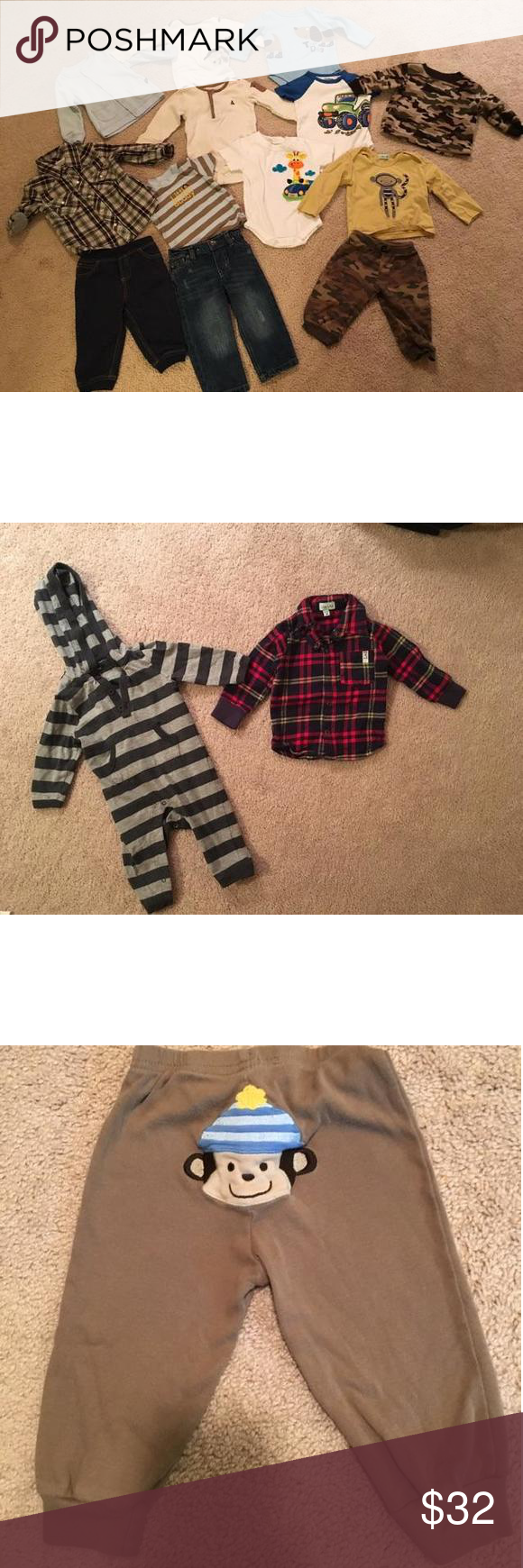 6-9 Month Clothing Bundle! 4 pair of pants (2 jeans, 2 sweatpants), 1 Camo fleece sweatshirt, 1 button up cotton sweater, 1 plaid button up dress shirt, 7 other tops or onesies as seen in picture.  All items in great-excellent condition. Some new without tags but washed & hung dried. (pair of jeans, plaid dress top)  Third picture has plaid shirt & cotton pant onesie both size 6-12 months. New without tags but washed and hung dried. Shirts & Tops