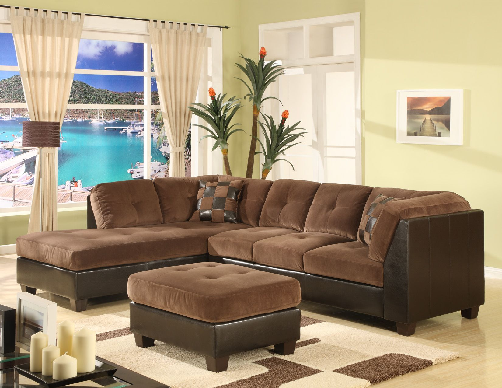 9022 Chocolate Colour Microfiber Sectional Ideal Home