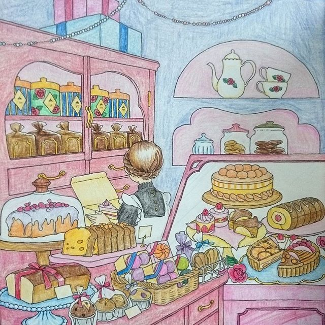 Instagram media oozora_webunder - 左ページ イヤ何か、毒々しいケーキが紛れてます( ̄▽ ̄;) #大人ノ塗リ絵 #オトナノ塗リ絵…