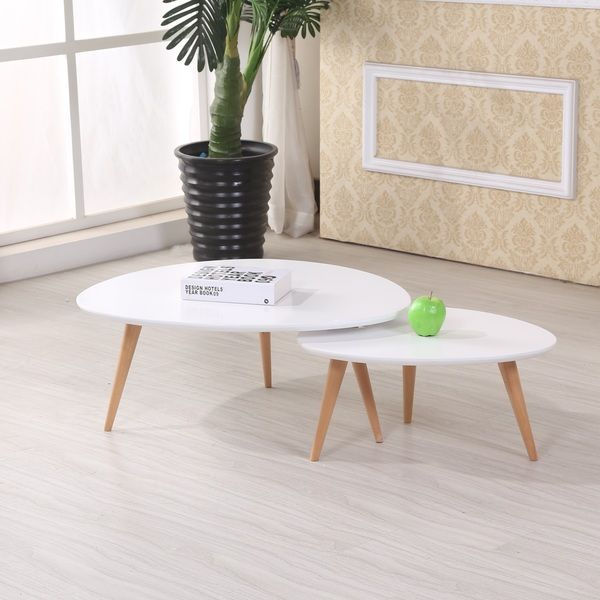Isabella Modern Free Form Wood 2 Piece Coffee Table Set $159