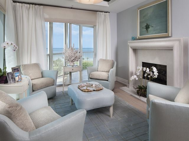 Transitional Living Room With Coastal Vibe And Blue: Transitional Coastal Living Room