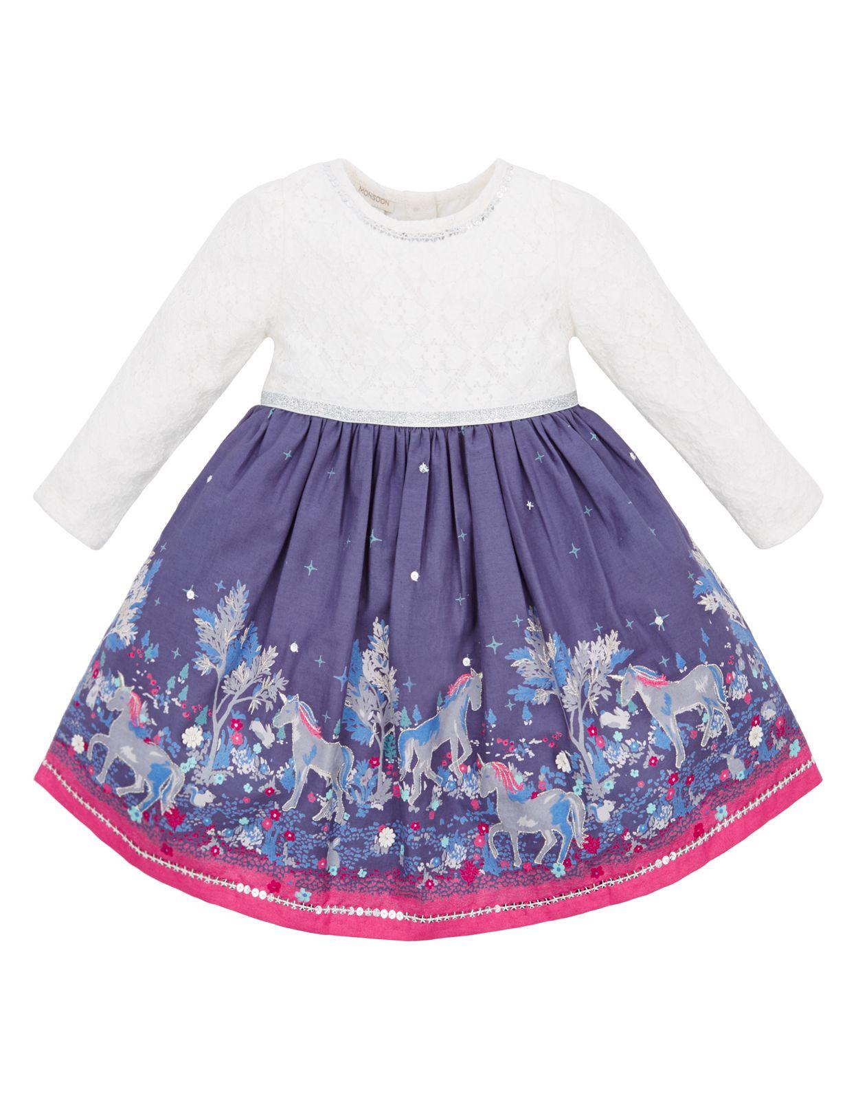 Robe pour bébé motif licorne Emily | Bleu | Monsoon | Unicorn ...