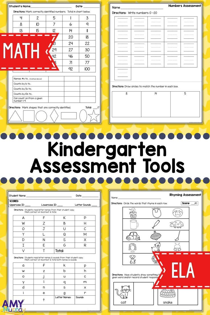 Kindergarten Assessment Tools  Kindergarten Assessment Math